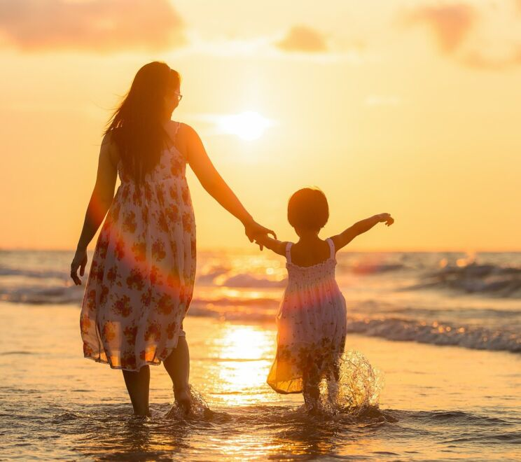 Adult Mother Daughter Beach Kids Children Evening